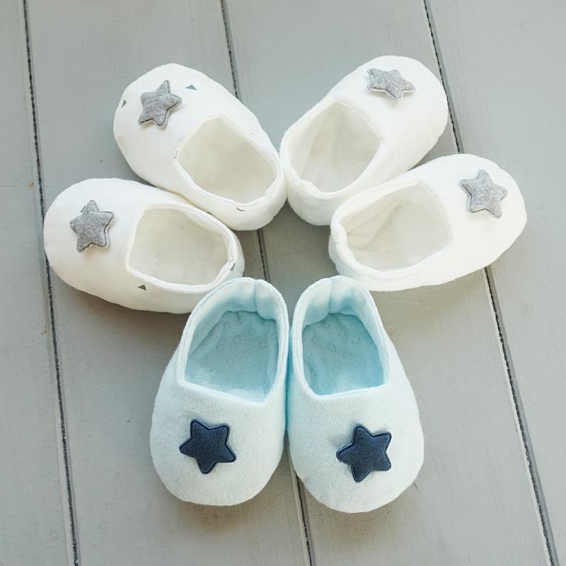오가닉 별 아기신발 만들기 태교바느질DIY(세모/블루/백아이보리)