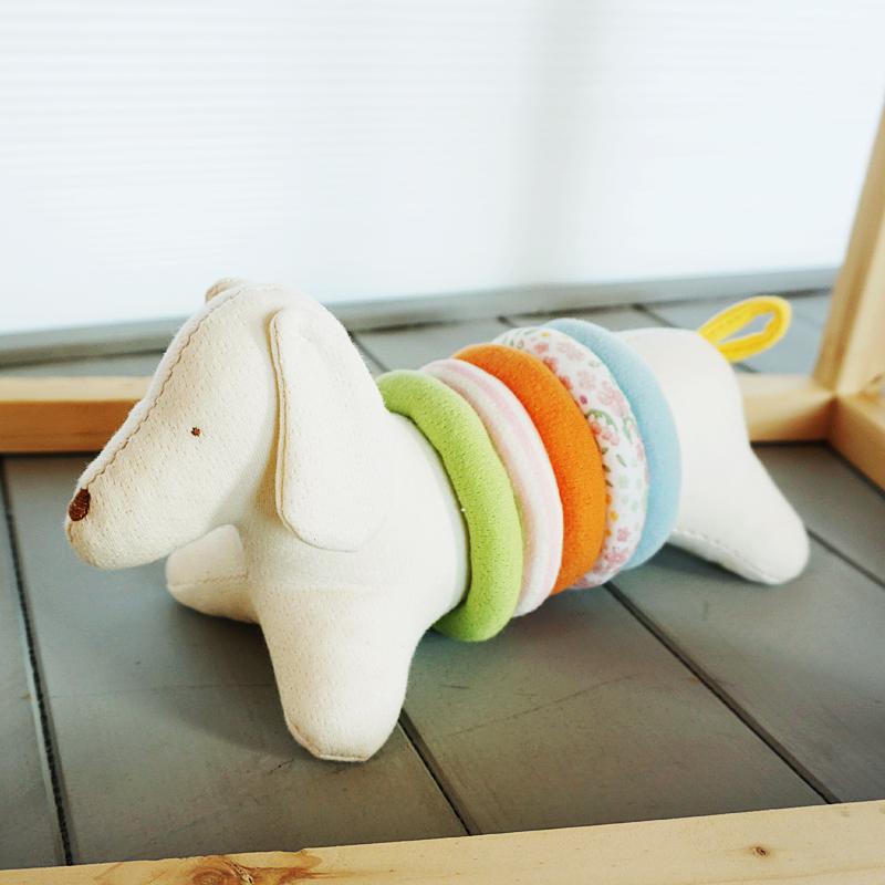 오가닉 링 끼우기 강아지 애착인형 만들기 태교바느질diy