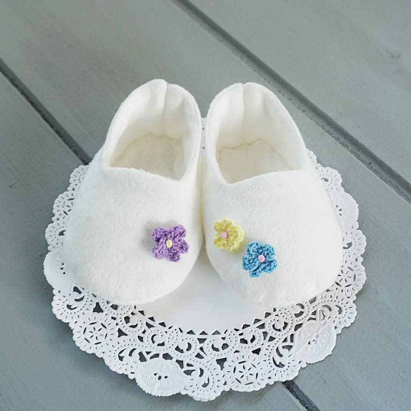 오가닉 뜨개꽃 아기신발 만들기 태교바느질DIY