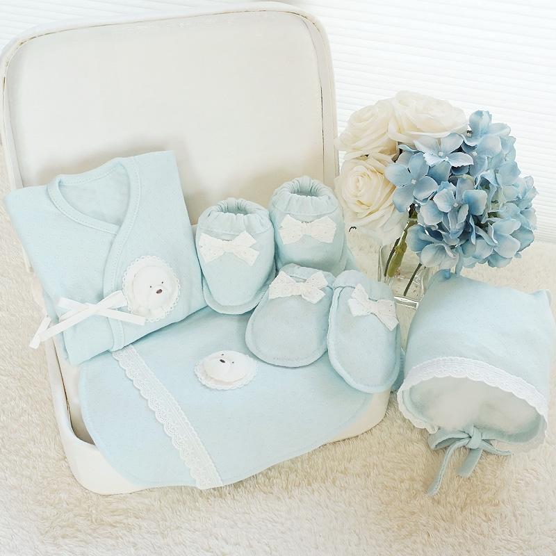 오가닉 Bichon 솜사탕 배냇저고리 만들기 세트 태교바느질diy (백아이보리/핑크/블루)