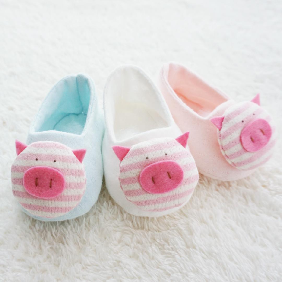2019 돼지띠 오가닉 ●꿀꿀이● 포인트 아기신발 만들기 (DIY) (백아이보리 / 핑크 / 블루)