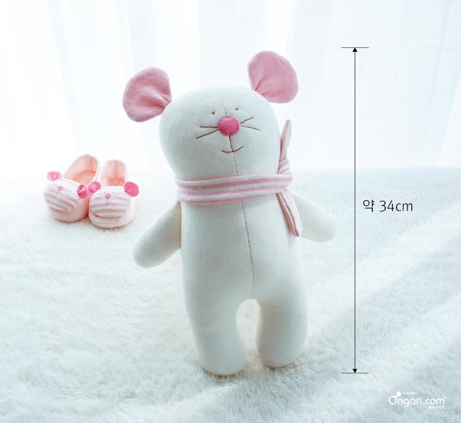 오가닉 쥐띠 마우스 애착인형 DIY 상세페이지 - 분홍